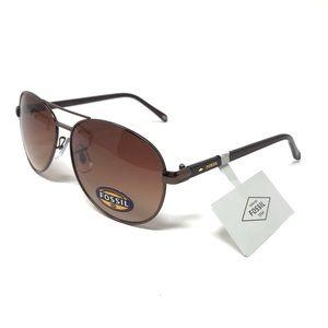 Fossil Metal Framed Aviator Sunglasses NWT $128